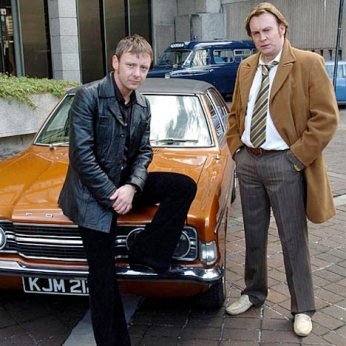Gene Hunt (Right), with Sam Tyler and their trusty Ford Cortina