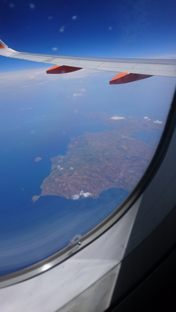 A view of the Greek island of Lemnos whilst on the flight