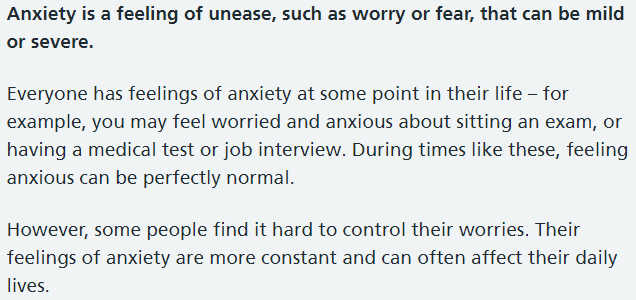 NHS Anxiety Description
